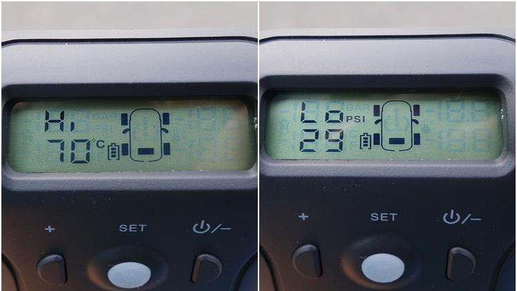 主機可預先設定胎壓和胎溫的警告極限值,顯示器有自動啟閉背光的功能,也可手動三段調整背光強度。
