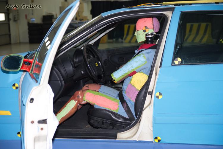 測試人偶各部位塗上不同色彩,便於了解撞擊過程中各部位的接觸狀況。