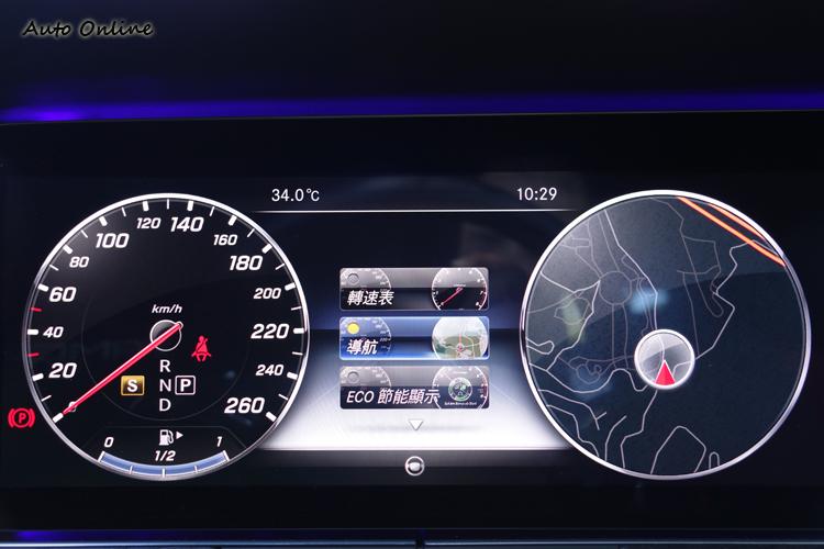 三種模式切換的數位儀錶,還能選擇資訊區所要顯示的功能,豔陽下辨識度依舊清晰。