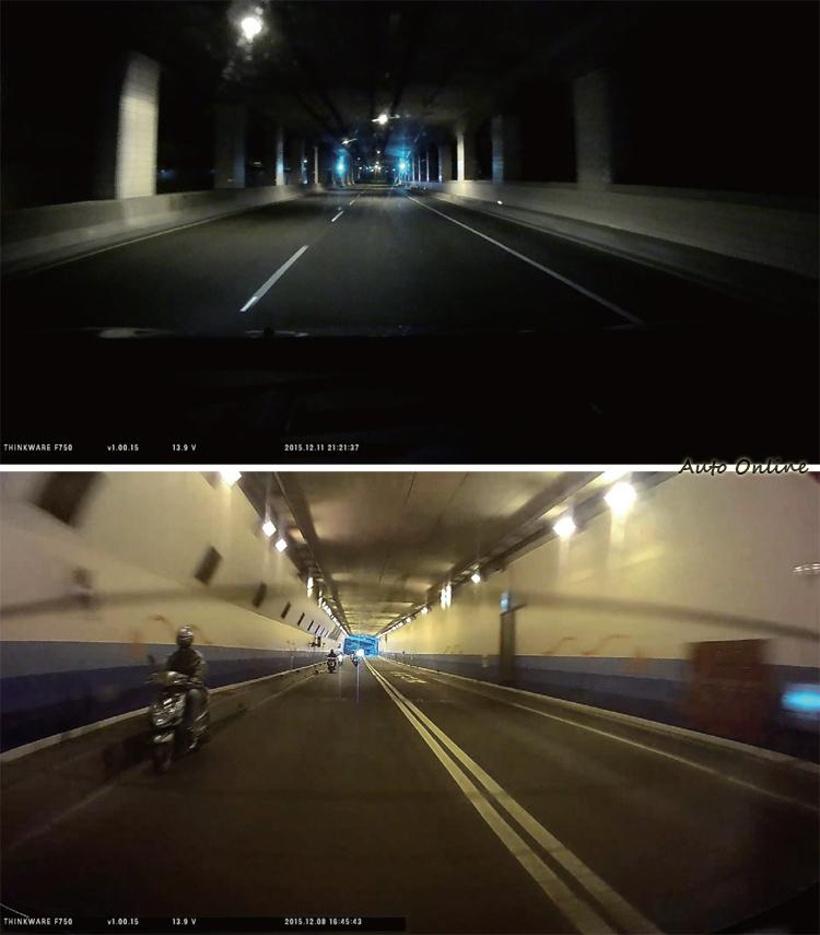 對照鳳鼻(上)與復北(下)隧道內的前後畫面,看得出夜間對於照明的依賴性很高。