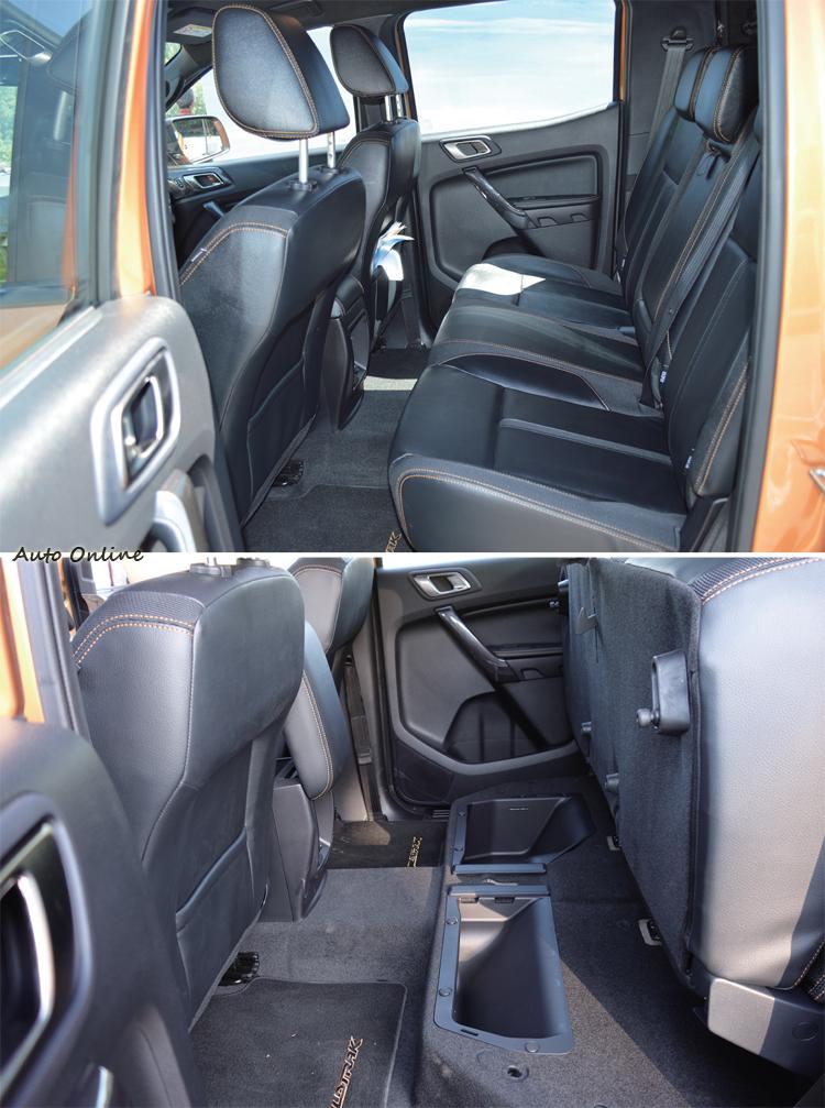 後座椅設計在舒適及空間表現上都沒問題,椅下還設有隱藏空間。