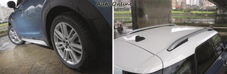 標準配備鋁質車頂置物架與越野車側下護板。