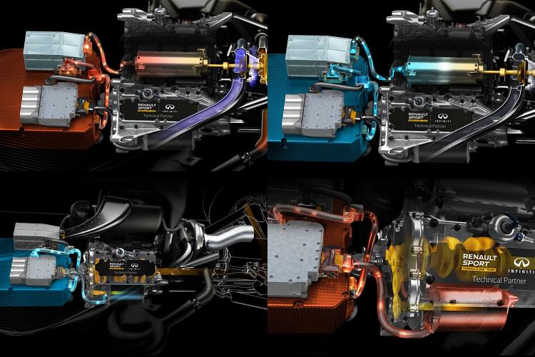 (上)MGU-H連接渦輪增壓器做為發電機使用,也可以在低轉速時幫助渦輪葉片提高轉速,以匹配引擎所需要的進氣量。(下)10MGU-K會連接到引擎曲軸,加速時提供額外動力,制動時回充電量到電池。