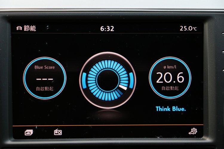 除了儀錶上的顯示幕,乘客從中央螢幕也能看見油耗數字。