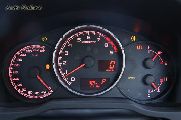 三環式的儀表設計,時速表由4點鐘的位置由下往上轉,看起來相當來勁!