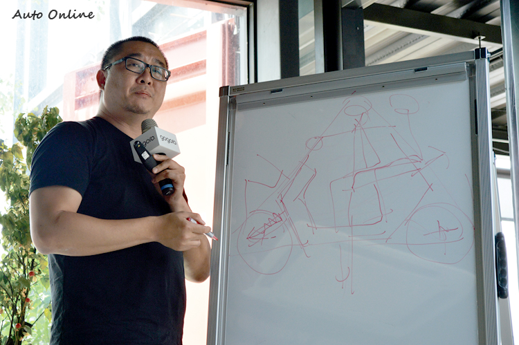 Gogoro 2 基於三角穩定的大原則下,以六角型勾勒出設計線條。
