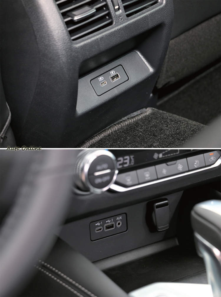 前後座都有一個Type-A與Type-C插孔非常貼心。