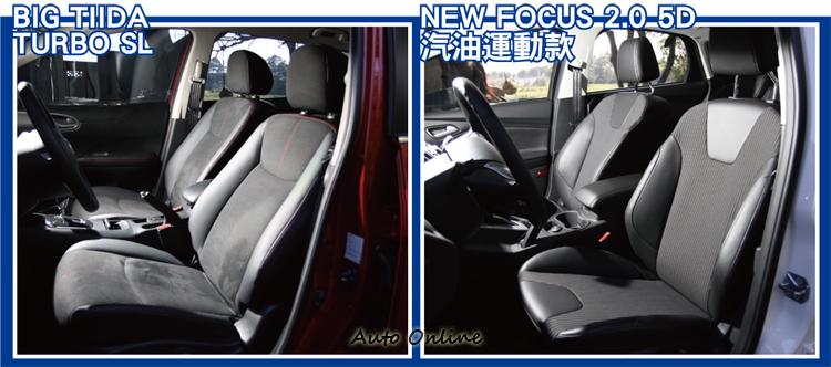 座椅方面BIG TIIDA在素材以及縫線部分均有細緻的處理,而FOCUS則在側向處給予乘客更佳的支撐。