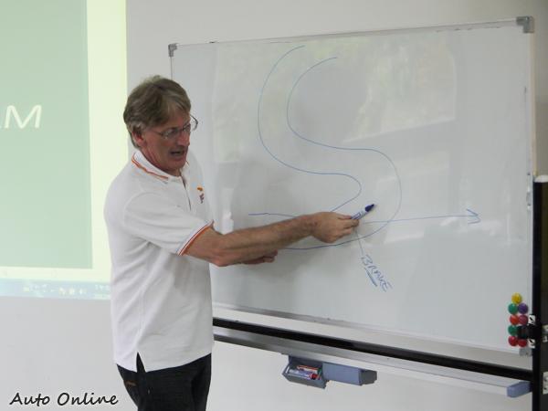 場地駕訓的指導教官是英國籍的Alan Parkes,他可是有三張FIA核發的的高級駕照喔。