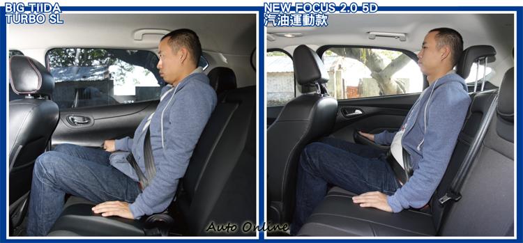 兩車對後座乘客的頭部壓迫感都不大,但在膝部空間方面BIG TIIDA則是大大的勝出。
