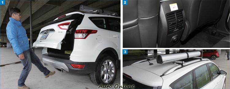 1.Kuga 2.0 TDCi標準配備有感應尾門,提高使用便利性。2.後座冷氣出風口是現在車輛不可少的配備。3.休旅車車頂必備車頂架,但橫桿及其它功能需選配。