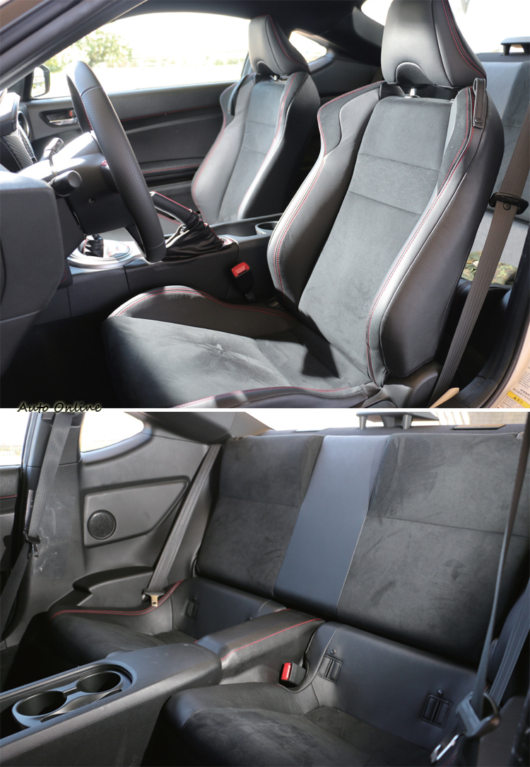 內裝部分高規版的86會用上類麂皮材質的座椅,與BRZ的差別在於一些小地方的配色。