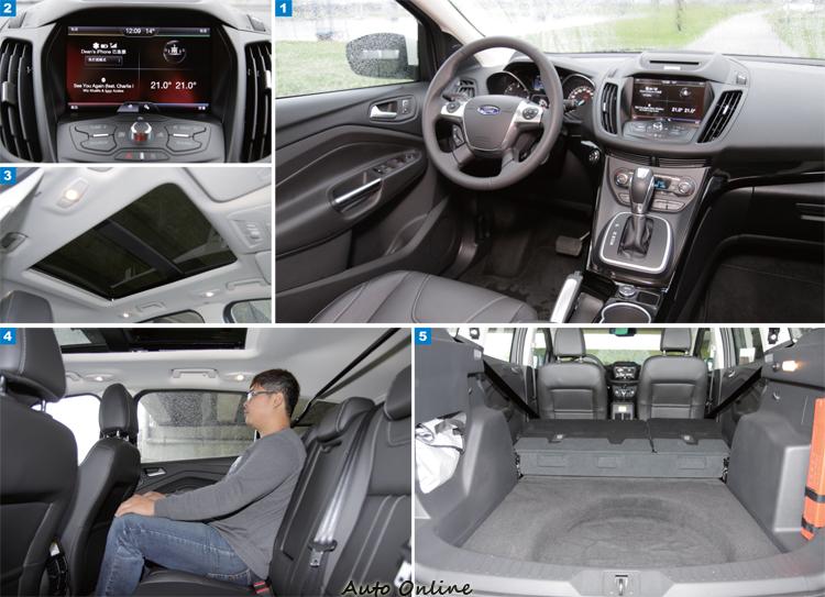 1.Kuga內裝以功能性為主,質感沒有CX-5來的好。2.SYNC with My Ford Touch聲控配合八吋觸控螢幕,有很高的便利性。3.標準配備全景天窗,對某些消費者來說是優勢。4.後座空間較寬裕,但因為客貨車牌影響,椅背調整被閹割。5.行李廂空間沒有平整化,但有比對手還大的置物容積。