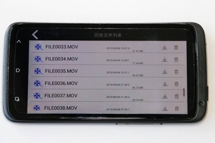 標準檔名會類似FILE0001.MOV的命名,事件檔名則是EVE00002.MOV,不過我們不知道G值感應到達怎樣的程度才會判定為緊急事件,倒是所有錄影檔案在手機上都能直接回放檢視。