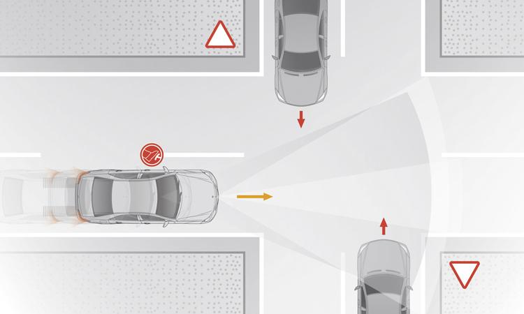 藉由3D攝影機的協助,行經十字路口時會協助判斷是否有碰撞的危險,進而主動協助煞車以避免碰撞。