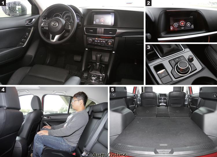1.Mazda CX-5內裝走日式精緻氛圍,適合注重細節的消費者。2.螢幕採全採觸控方式,介面是2016年式新增配備。3.MZD Connect人機智慧資訊整合系統除了觸控,也可透過旋鈕操作。4.後座空間頭部受到車頂影響,也沒有冷氣出風口。5.領客車牌不用侷限法規,平整化底盤方便使用。