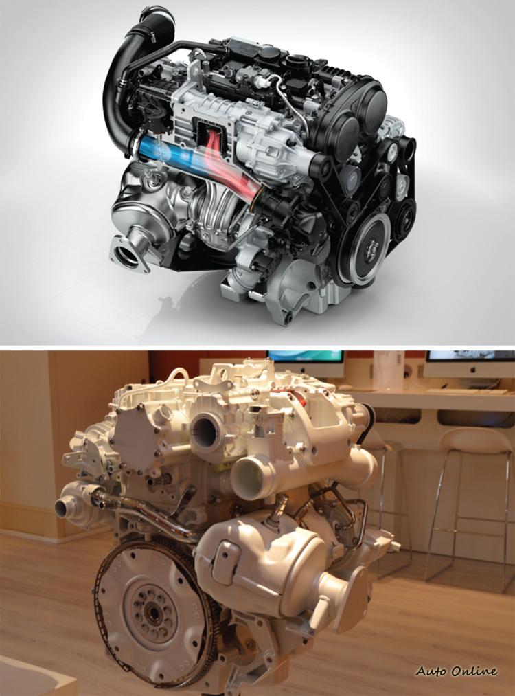 在汽油引擎部分T6引擎採用機械與渦輪雙增壓的方式驅動車輛,低速域由機械增壓負責,中高速域由渦輪增壓接手。