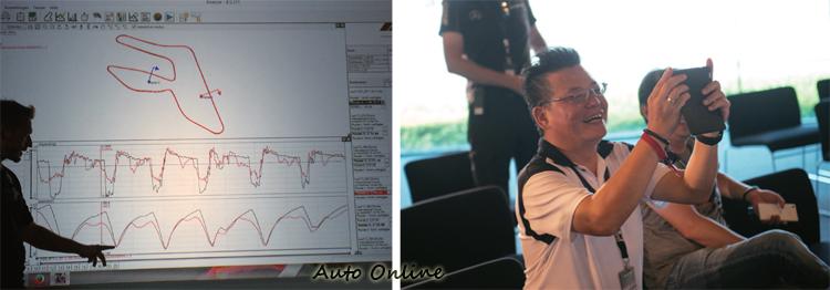 GT S賽道完成單圈後,在教室進行數據分析,黑色線條是教練車的成績,紅色是我的。教練解說時挺風趣,逗得大家哈哈大笑。