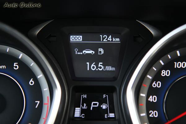 儀錶板內有多功能顯示的小螢幕,可以顯示多項旅行電腦的數據。