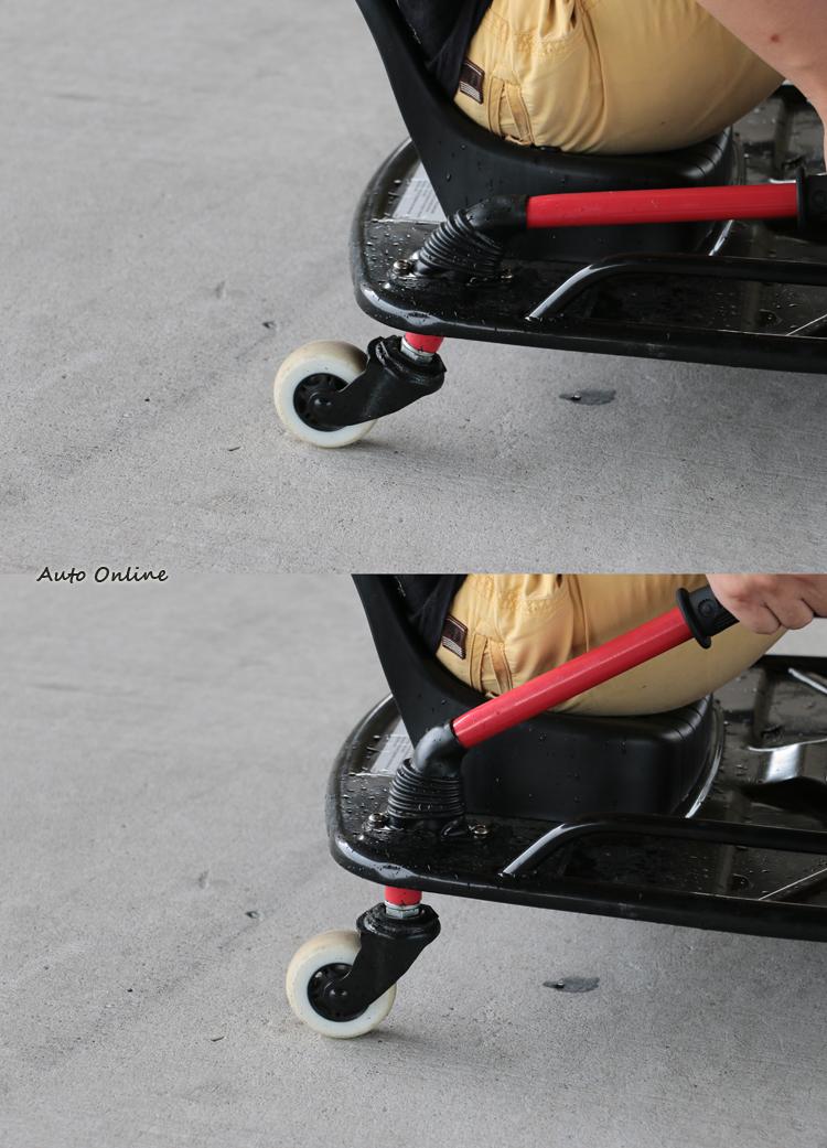 後腳輪組是甩尾的關鍵,當腳輪與地面垂直時,輪胎能自由改變方向,透過慣性即可產生甩尾。