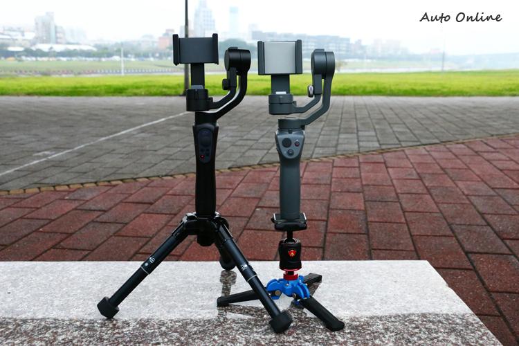兩款穩定器底座都支援1/4螺孔,使用者可以額外安裝腳架。