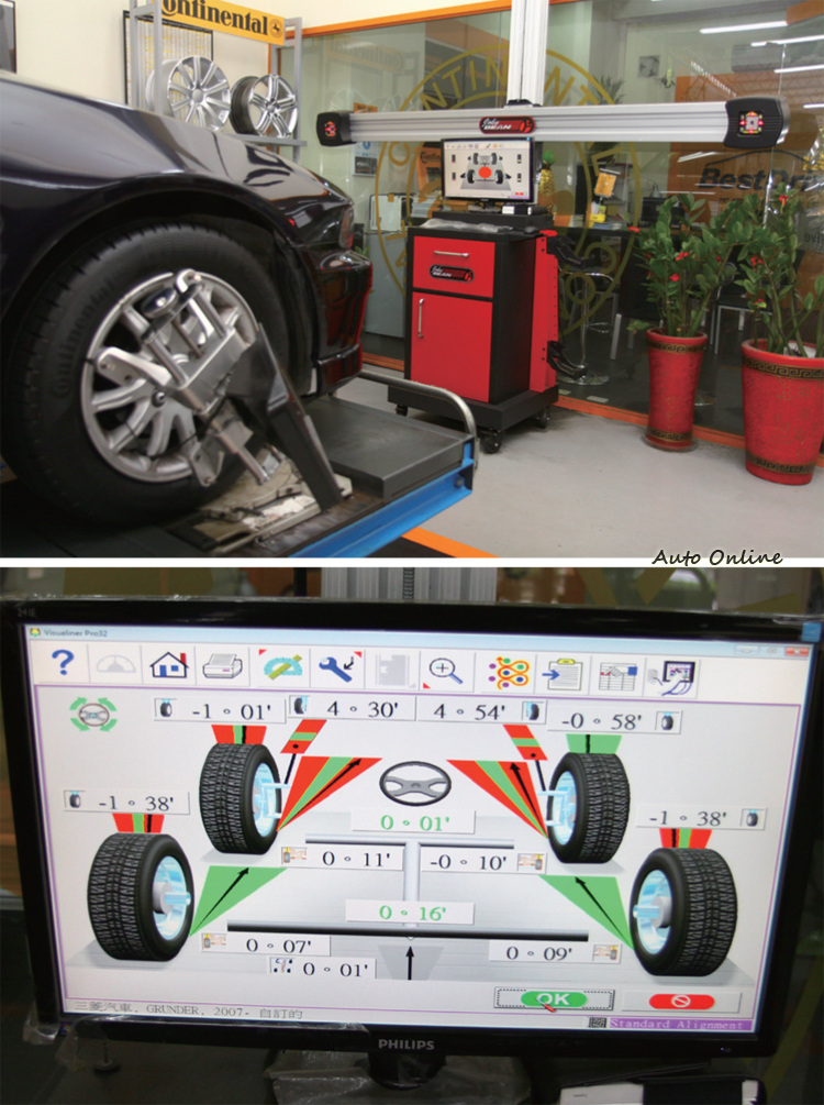 輪胎平衡後,四輪定位也絕對不能少,不正常定位角度會讓輪胎快速磨損。