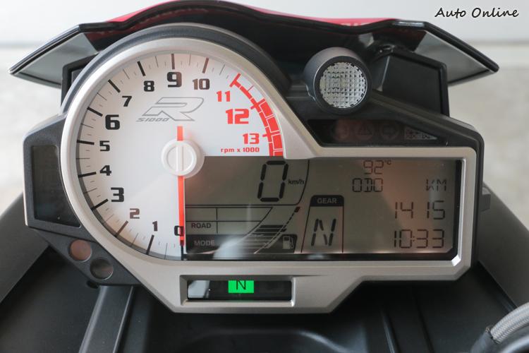 仔細看會發現S 1000 R儀表配置與跑車版相同,但最高速極速修正了。