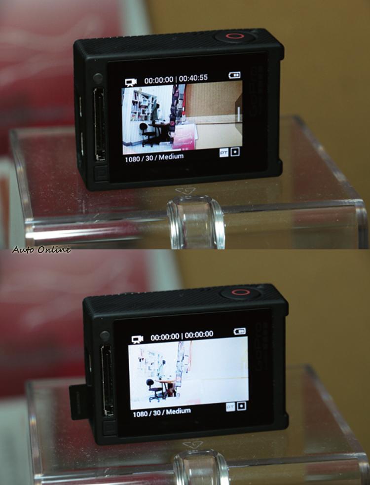 HERO 4使用Class 10的microSD記憶卡,如果記憶卡沒插好,螢幕會呈現過曝畫面來提醒使用者。