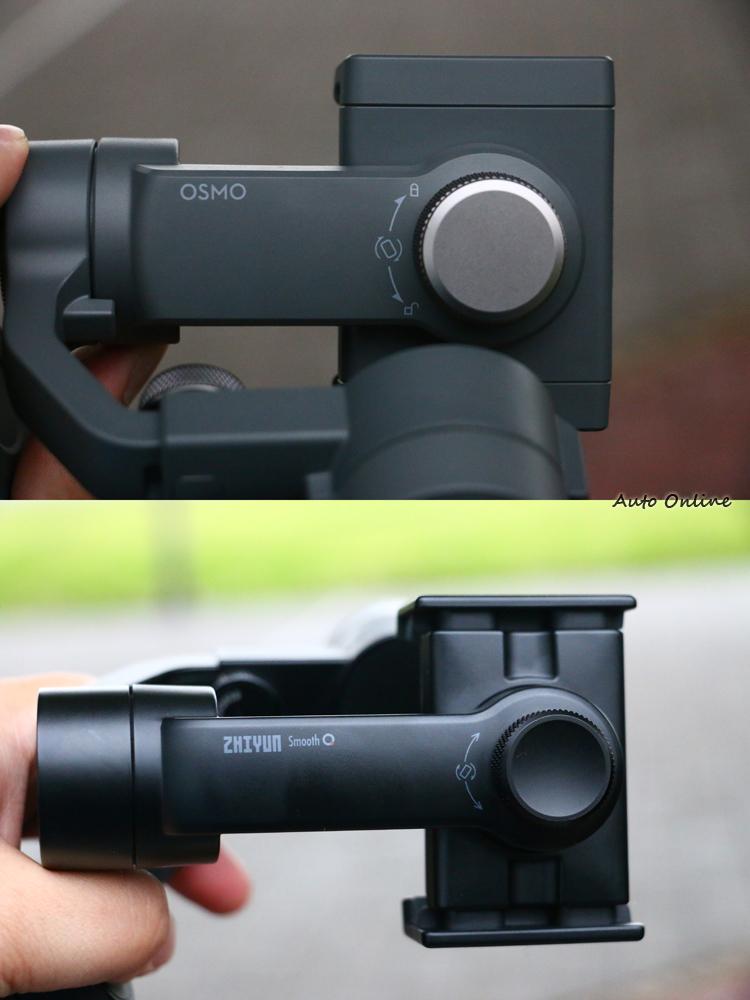兩款穩定器的夾具都可以轉成垂直拍攝。