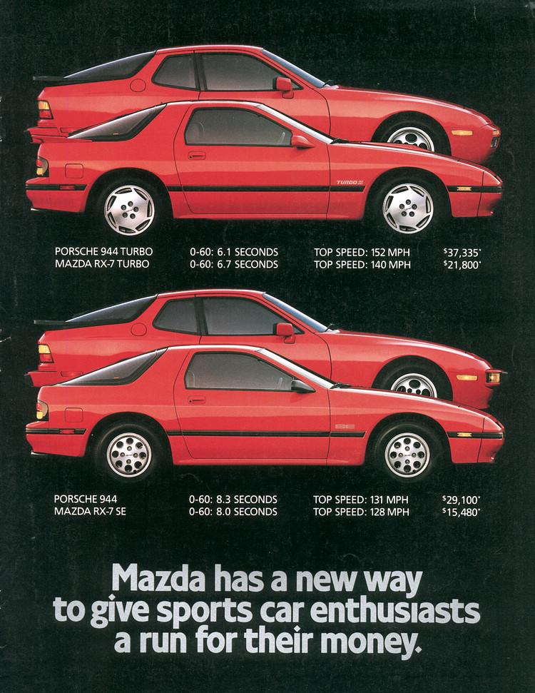 除了造型相仿,第二代Mazda RX-7和Porsche 944都是以高性能跑車為產品定位,性能也很接近,不過價格上則有不少差距。