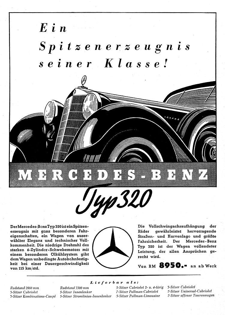 刊載於1938年德國雜誌上的Mercedes 320(W142)廣告:「Top of its class! Mercedes-Benz 320」