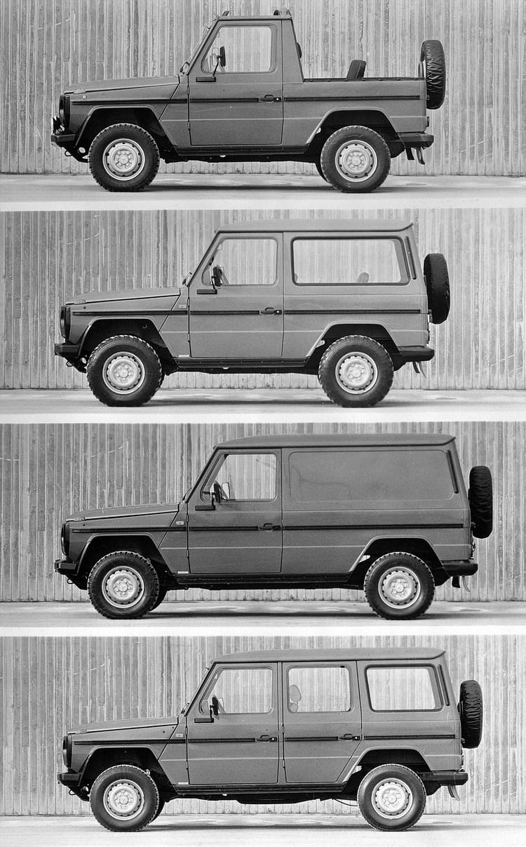 1979年G-Wagen正式量產並在法國進行全球首演,提供四種動力單元,涵蓋柴油與汽油,馬力介於72~150hp之間,並有敞篷、旅行車、貨車等短軸與長軸車型。