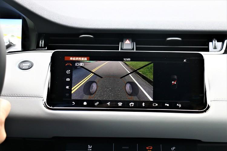 利用鏡頭擷取畫面與電腦運算,可顯示出車輛前方的透視3D圖。