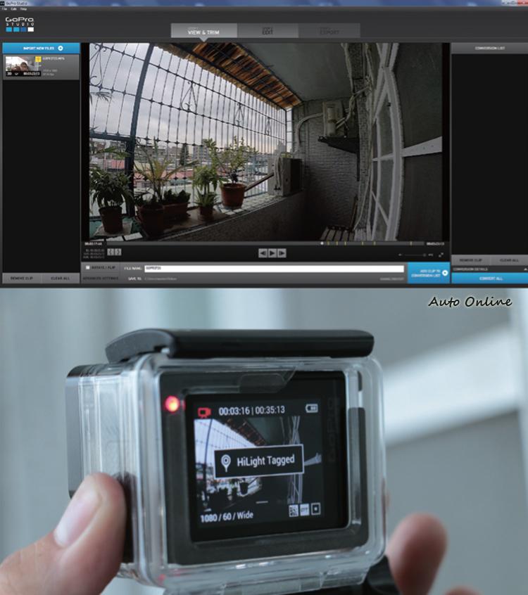 錄影過程中可以按下機身左側的功能鍵標記HiLight Tag,所標記的段落會在GoPro Studio中顯示。