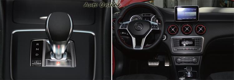 A45 AMG大量應用紅色元素妝點車室內裝,就連安全帶也使用紅色,排檔桿只提供R-N-D的檔位操作。