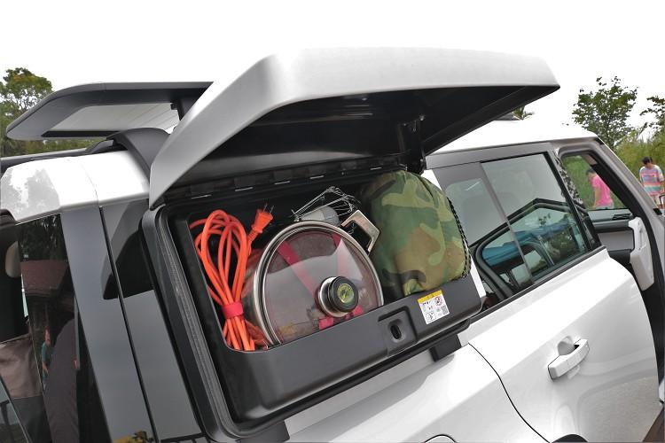 外部側掛式裝備箱可以放置一些較髒的物品,圖片中為示意圖。