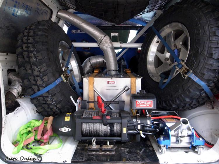 比賽前一天的車檢,會檢查兩條備胎、千斤頂、絞盤等配備。