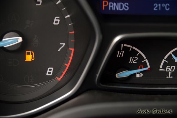 儀表板上有油表顯示汽油量,到達底限會再亮起燈號提醒,不過還是會有駕駛開到沒油都不知警覺。