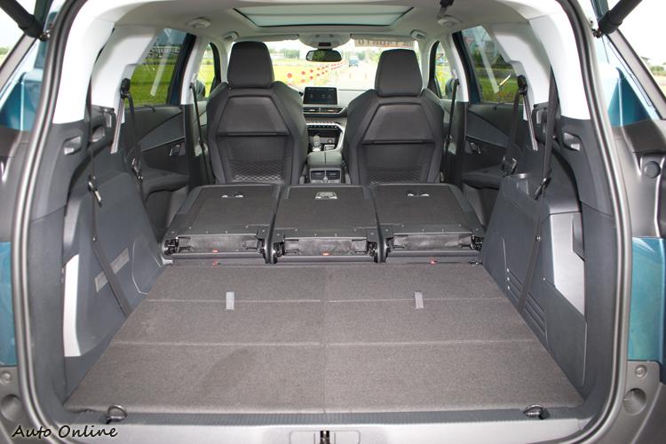 將後座放倒之後行程地面平坦形狀方正的行李空間。