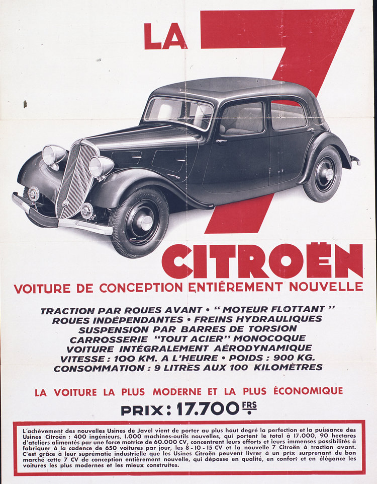 1934年7A發表的宣傳海報,上面羅列琳瑯滿目的各種新技術。