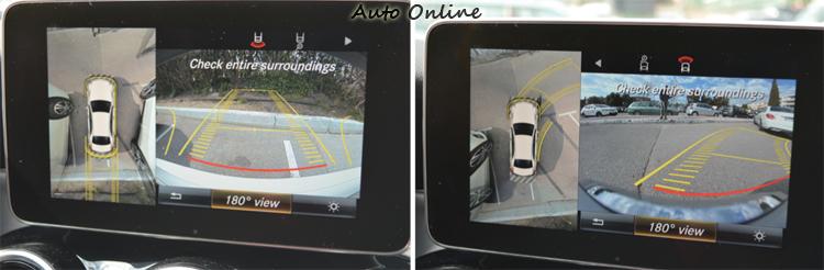 倒車或駛出車位時都有180度廣角視野輔助,預測行車路線非常準確,還有模擬上方空照視野。