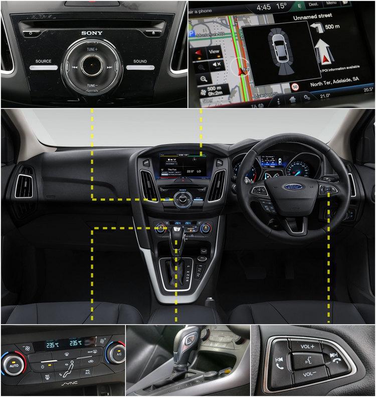 【左上】中控台面板化繁為簡,不過鋼琴烤漆面板很容易就會留下指紋。【右上】SYNC 2配合全新觸控螢幕,提供更豐富多元化的電子化科技配備。【左下】空調模式調整面板,是否讓你聯想起VOLVO?【中下】更換為手自排後,除了排檔頭檔位選擇方式,還多了換檔撥片的選配。【右下】多功能控制鍵重新設計,造型已經和以往的圓盤大異其趣。
