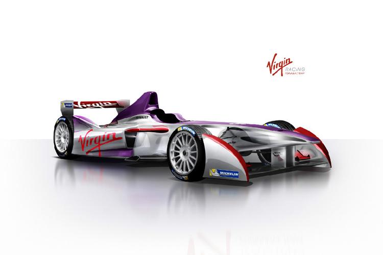 這麼難得的賽事,英國的Virgin肯定不會缺席。賽車的塗裝依舊維持豔麗的Virgin風格。