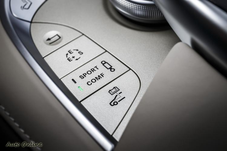 中央扶手前的幾個核心控制按鈕,E/S/E+是變速箱模式,E+模式可以最佳化控制電能使用。SPORT/COMF是氣壓懸吊舒適調整,最下方則可循環切換動力系統的HYBRID/E-MODE/E-SAVE/CHARGE四個模式。