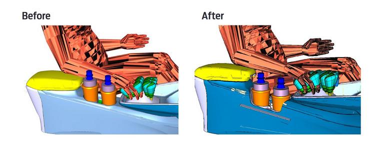 Ford的設計團隊降低了置杯架的位置、擴大置杯架的寬度,以確保能夠容納各種尺寸的容器,同時不妨礙駕駛者進行換檔的動作。