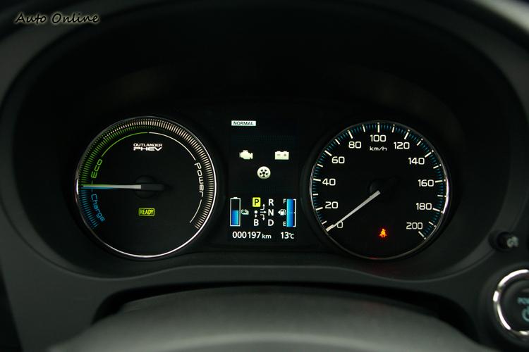 速度表與動力輸出狀態表間配置了4.2吋多功能資訊顯示幕來顯示多項行車資訊。