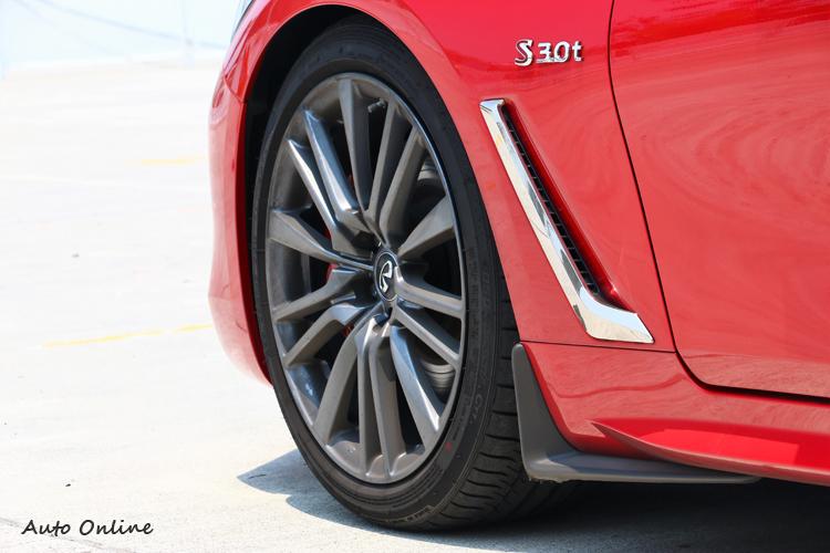 車側的導風孔可帶走煞車的熱能,下方的小饅頭也是考慮到空氣力學所設計。
