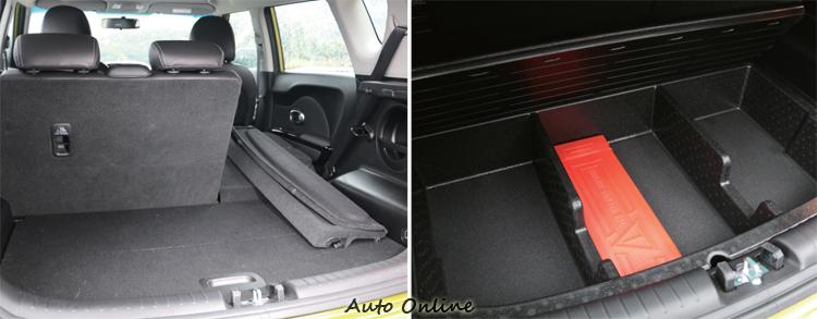 後座椅背可折設計為跨界車必備,行李廂底板下方還有隱藏隔間儲物處。