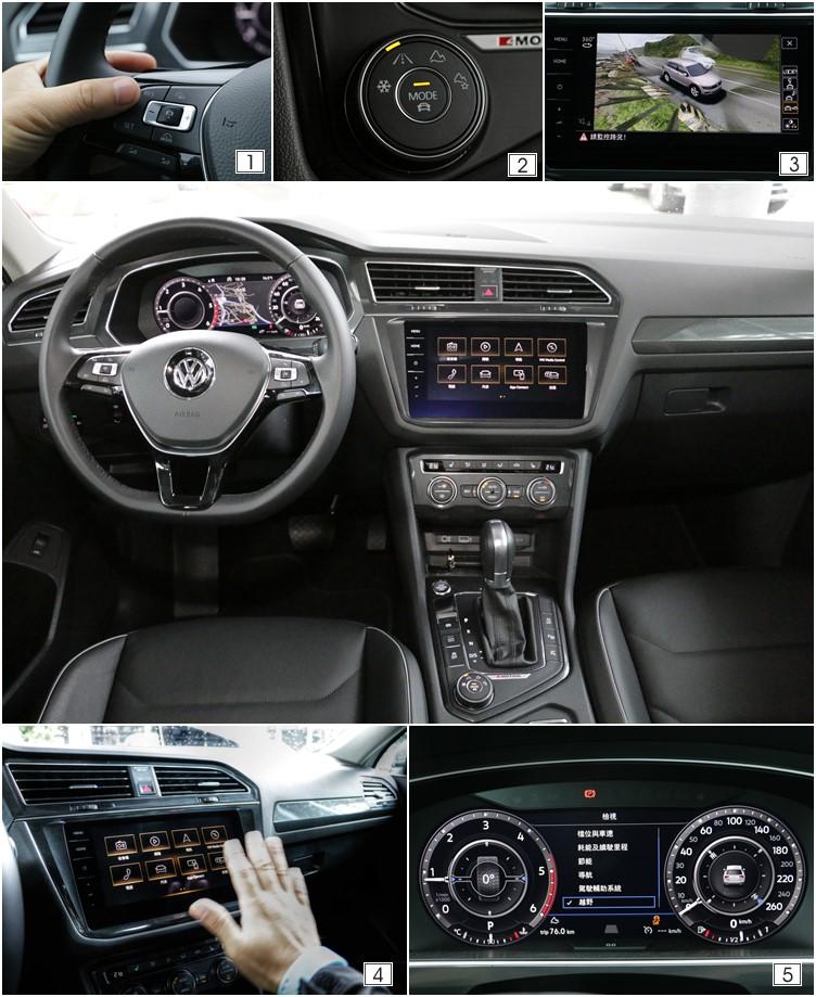 (1)Tiguan Allspace 400TDI HL標配疲勞警示、ACC和車前碰撞預警等系統。(2)按下智慧型主動式控制選擇鈕的中央就能直接進入事前預設的模式。(3)話題性十足的環車影像輔助系統,在這款車上必須加價選配。(4)9.2吋全平面觸控螢幕容易留下指印,不過可以利用手勢控制進行操作。(5)Tiguan Allspace 400TDI HL標配疲勞警示、ACC和車前碰撞預警等系統。