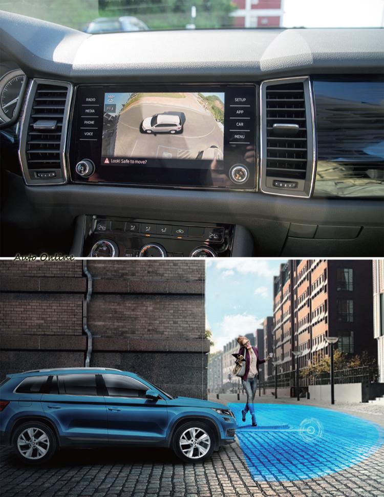 車內不但提供環景影像,360度Area View系統還可「預視」兩側牆壁等障礙物前/後的物體。